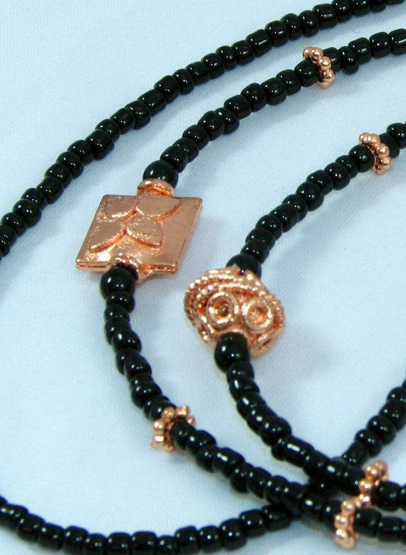 3f68ed540d4b Black Glass Rose Gold Beaded Eyeglasses Chain Leash by nonie615