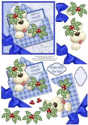 """CHRISTMAS WESTIE DOG IN ENVELOPE Decoupage on Craftsuprint designed by Janet Briggs - Christmas card front, approx 5""""x5"""" with additional layers to create a 3d decoupage effect. Depicts a cute Nitwits Westie dog, in an envelope with bow and holly embellishments.2 sentiment tags, including one blank for your own greeting.The other reads,Especially For You - Now available for download!"""