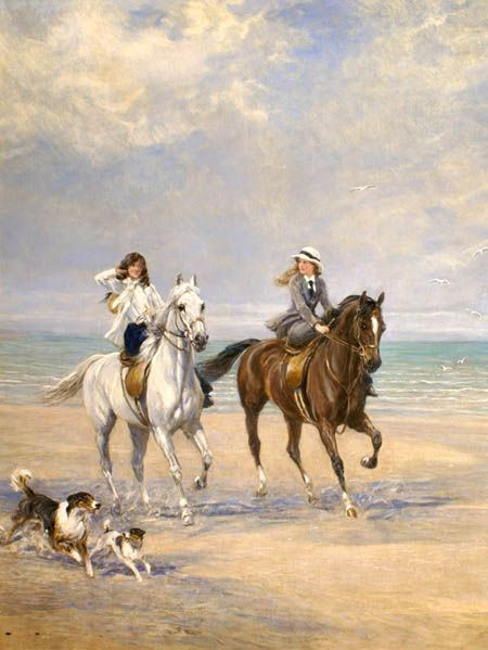 """Heywood Hardy (British, 1843-1933) - """"A Ride by the Sea"""" - Oil on Canvas, ca. 1915-1918"""