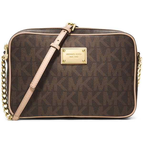 MICHAEL Michael Kors Large Jet Set Travel Crossbody ($148) ❤ liked on Polyvore featuring bags and brown