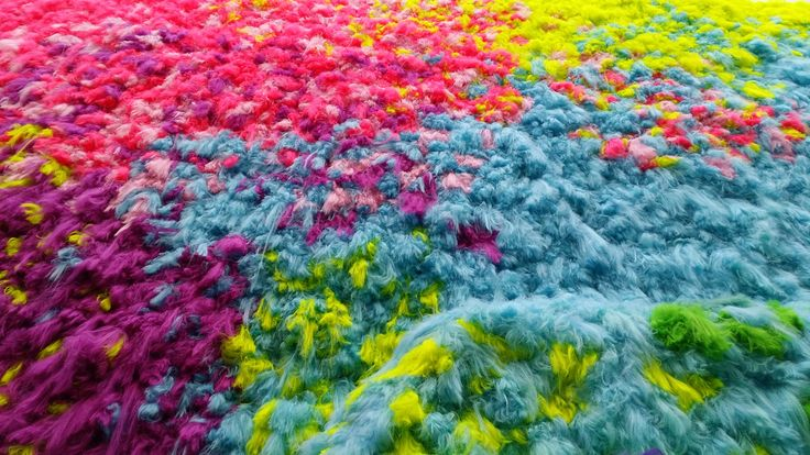 Nervescape, a multi-coloured landscape of synthetic hair by Icelandic-born artist Hrafnhildur Arnardóttir a.k.a. Shoplifter @ GoMA. My photo, makes a great desktop background, lush vibrant colour