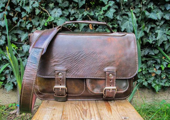 Hand Made Leather Satchel / Green Brown Leather Saddlebag / Leather Shoulder Bag / Handmade Leather Satchel Purse #handmade #transylvanianmonk #leatherbag #handbags #shoulderbag