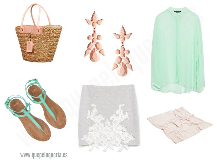 **LOOK MINT PASTEL** Bolso de paja: desconocido / Pendientes: Asos 2014 / Camisa: Zara Mujer 2014 / Sandalias Pull & Bear 2014/ Falda: Zara Woman 2014/ Pañuelo: Zara Woman 2014