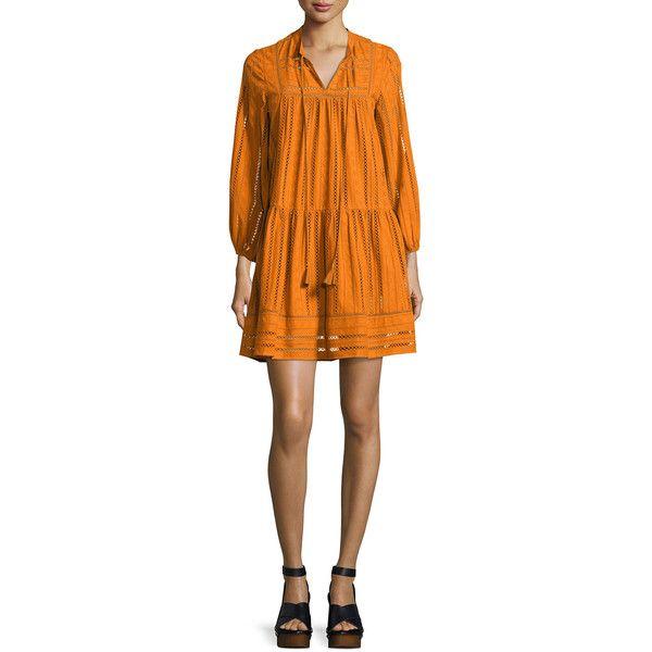 Shoshanna Sunita 3/4-Sleeve Shirred Cotton Dress (1,495 ILS) ❤ liked on Polyvore featuring dresses, orange, orange dress, mini shift dress, short-sleeve shift dresses, tie front dress and orange mini dress