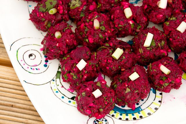 Beetroot Pkhali. Aka Georgian beet salad with walnuts and herbs. Recipe and image by by Pille of Nami-nami, via Flickr