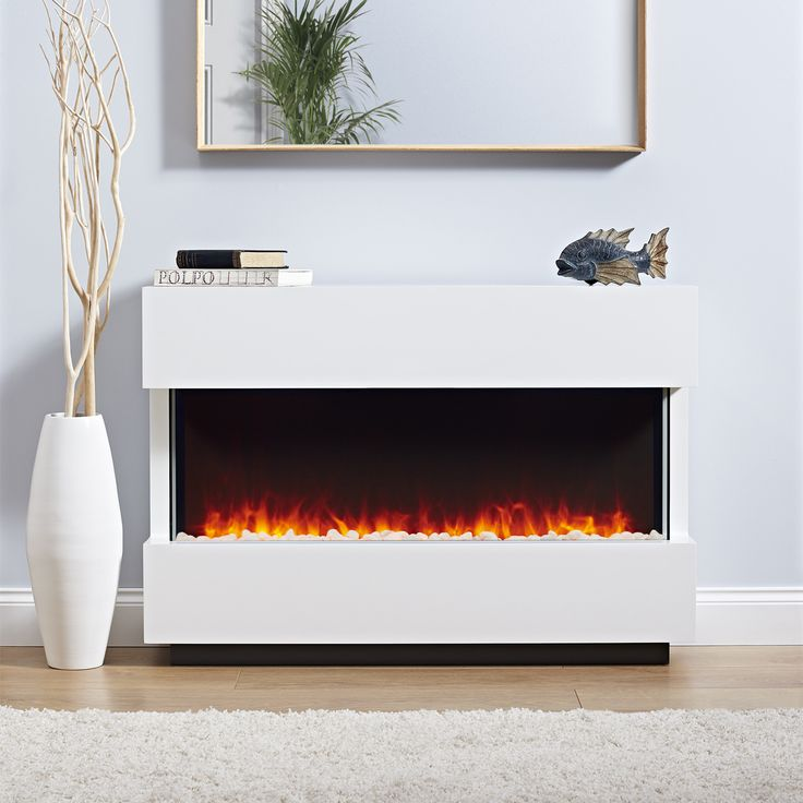 The Panoramic complete electric fireplace suite is a fully assembled electric fire suite. This contemporary electric fire suite combines a white surround, glass side panels and subtle graphite hidden base to create a modern suite.