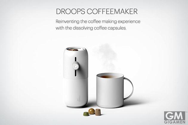 「DROOPS」の溶けるカプセルでエコ・コーヒーメイキング