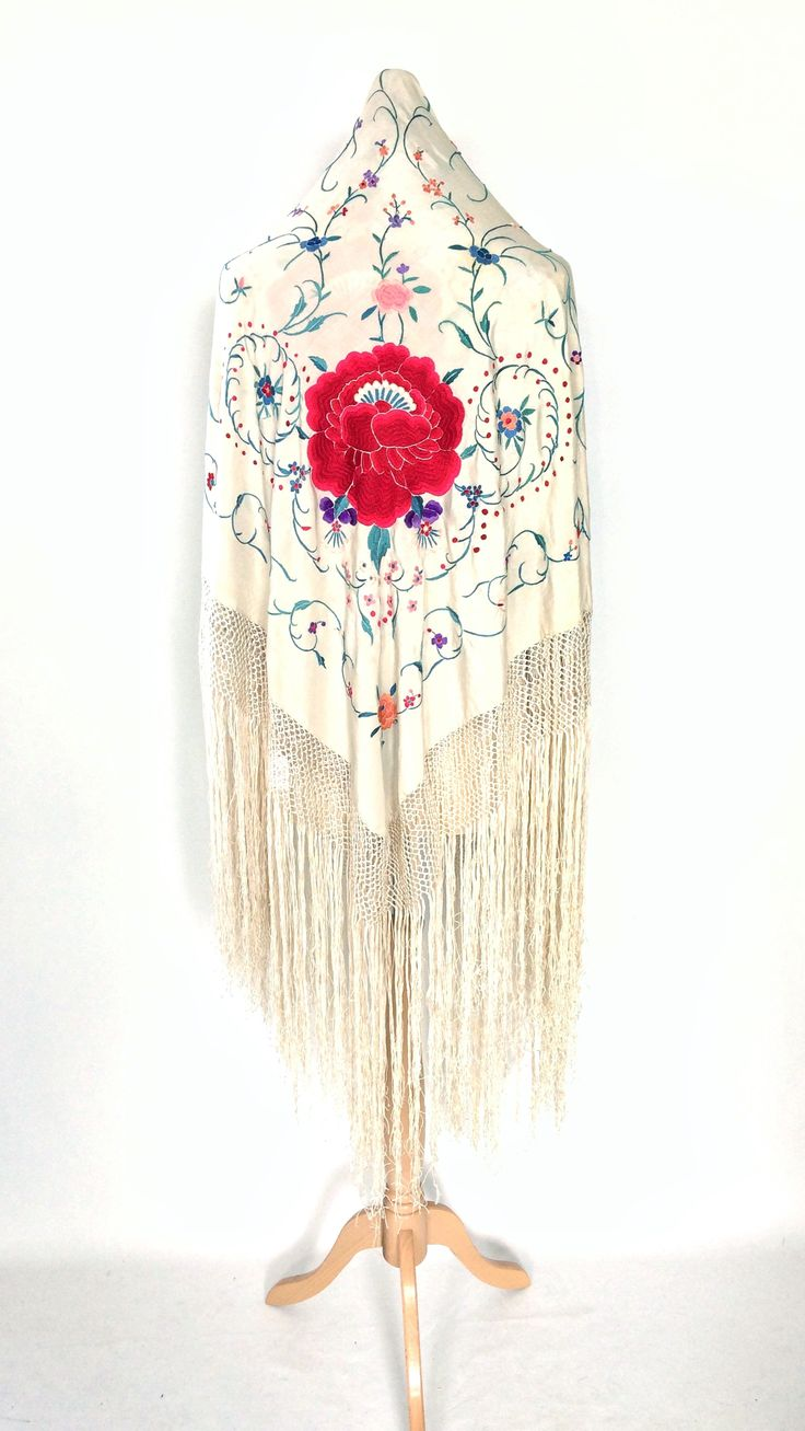 Beautiful vintage white piano shawl with large embroidered red flower. Perfect for a vintage/bohemian bride