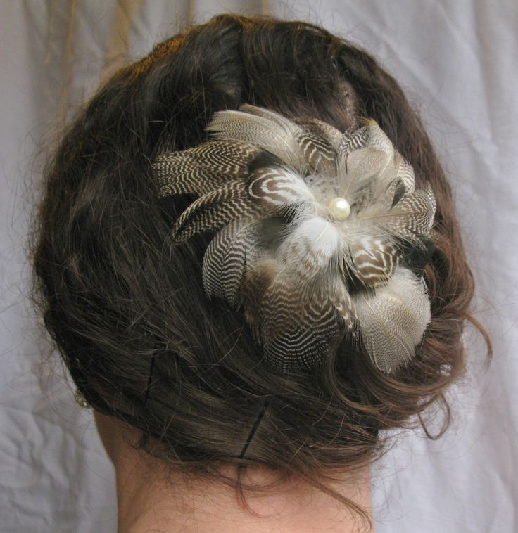 Silver Grey And Black Feather Flower Fascinator, Hairpiece, Headband, Clip, Bridal, Corsage, Boutieneer, Accessories by PeachesPlumageWorks on Etsy