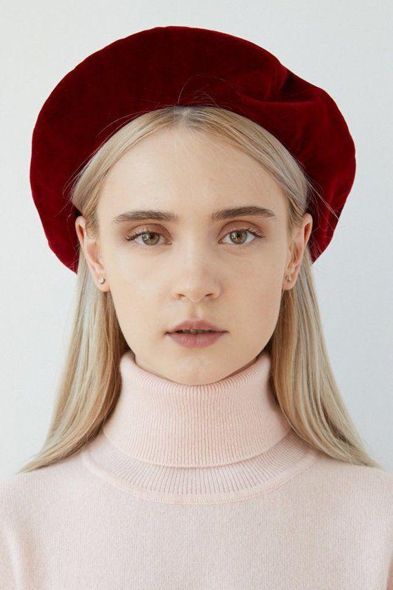 c2233485 LUCY Red velvet beret, red velvet, velvet beret, bordeaux beret, burgundy  red beret, french beret, red beret hat, velvet beret hat, berets for women,  ...