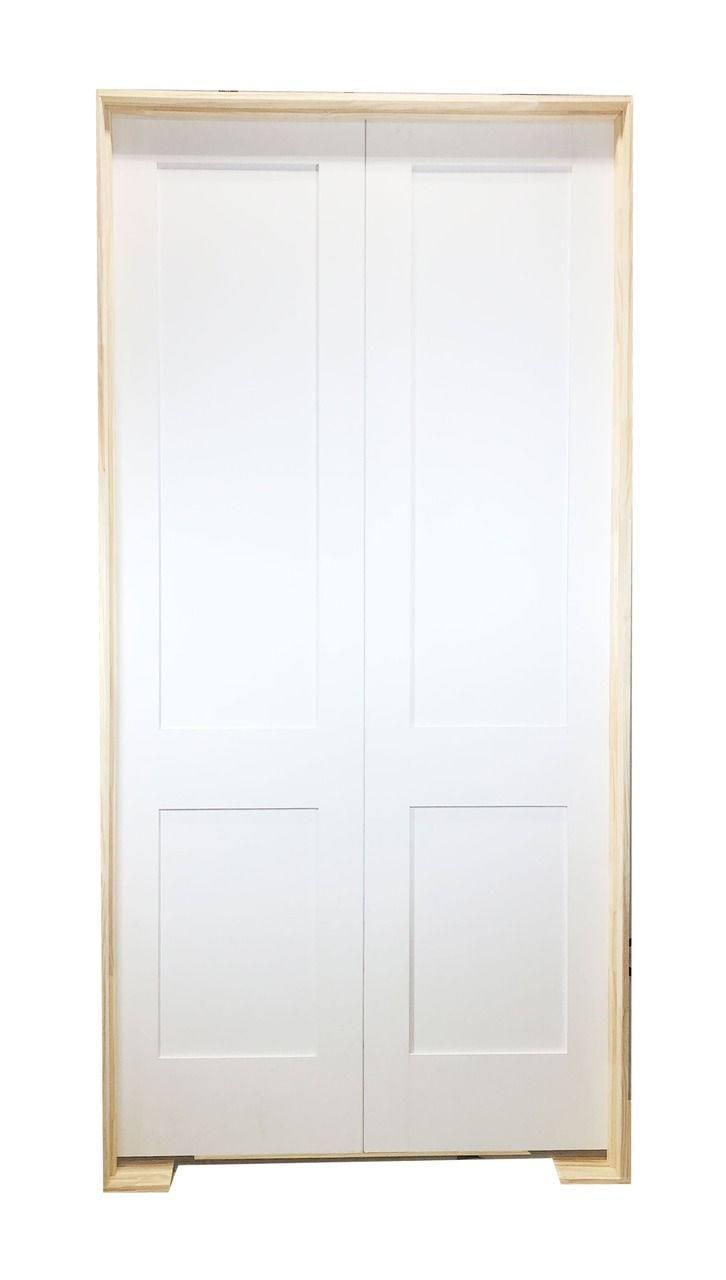 72 In X 96 In White Shaker 2 Panel Solid Core Primed Mdf Prehung Interior French Door In 2020 Prehung Interior French Doors Prehung Interior Doors French Doors Interior