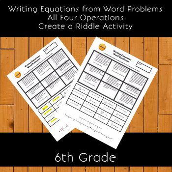 Writing Equations From Word Problems All Four Operations Create A