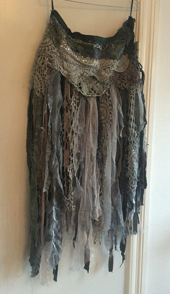 Tattered skirt, Elven skirt , festival , cypsy , boho skirt , womens skirt , tattered cotton skirt, gypsy unique style , handmade skirt,