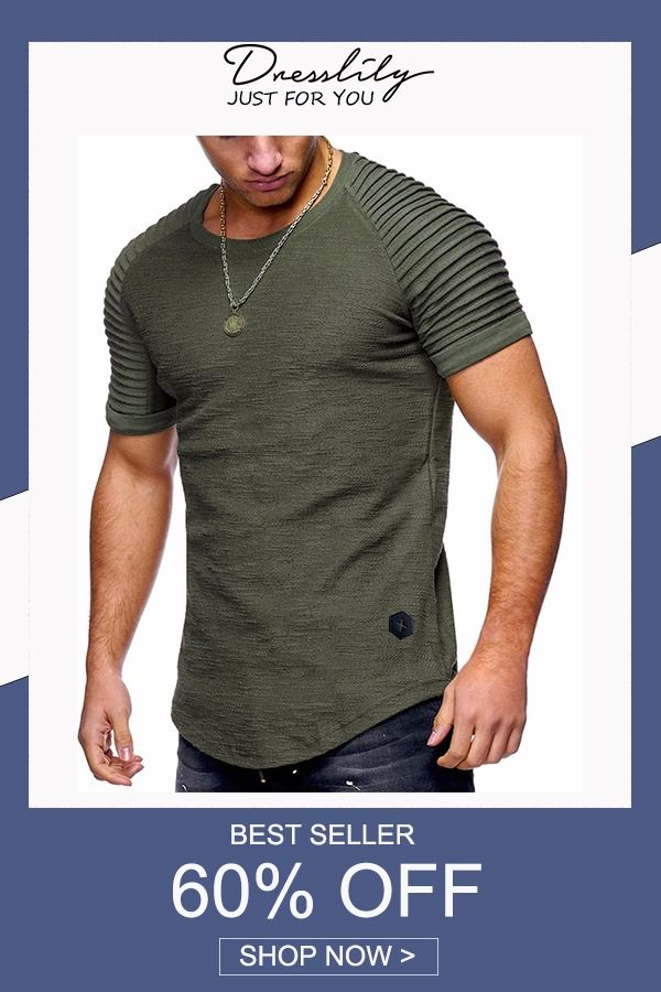 de55fed7f9 Pleated Sleeve Curved Hem Patch T-shirt.Extra 12% off code DL123  dresslily