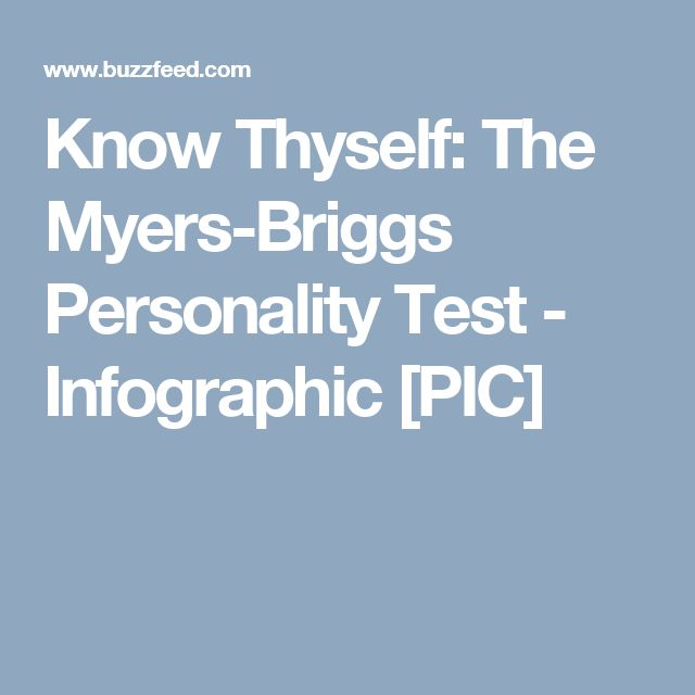 Know Thyself: The Myers-Briggs Personality Test - Infographic [PIC]