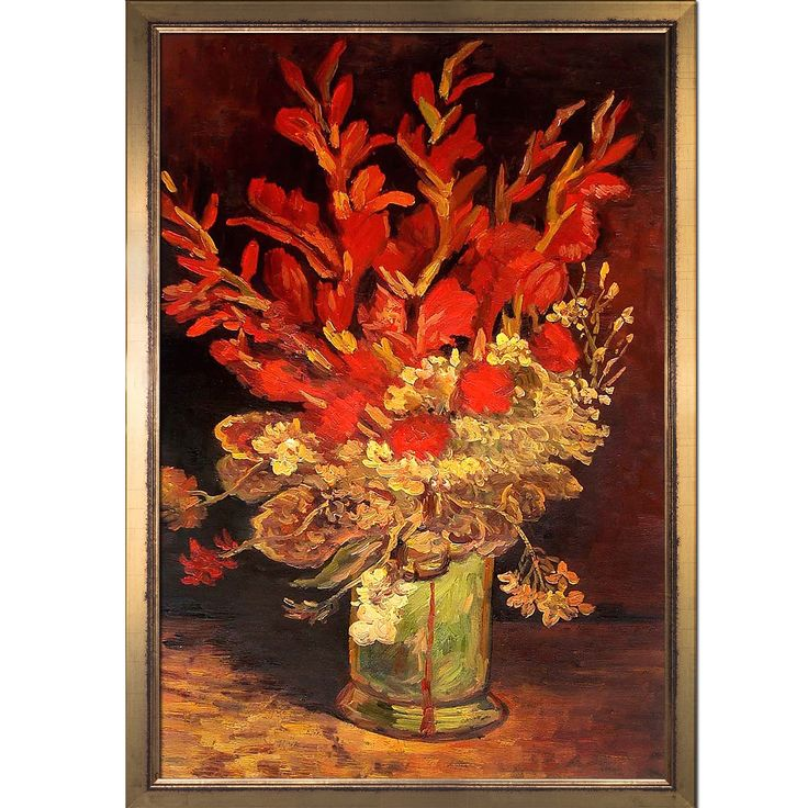 La Pastiche Vincent Van Gogh 'Vase with Gladioli and Carnations' Hand Painted Framed Oil Reproduction on Canvas