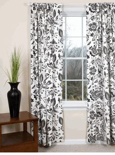 Domino Flowers - Black and White Curtains
