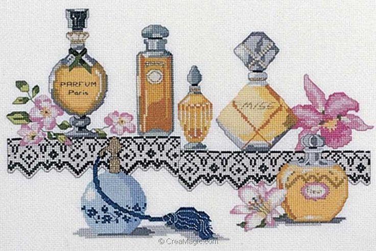 point de croix bouteilles de parfums de Paris - cross stitch bottles of perfume from Paris