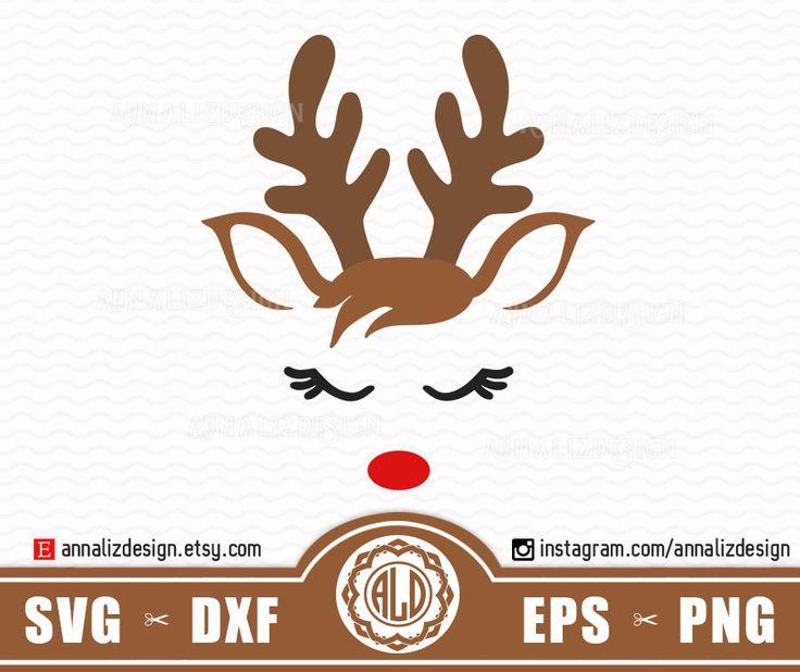 Reindeer svg, Reindeer face svg, Christmas reindeer svg, Deer svg, Reindeer head svg, Reindeer svg files, Boy christmas svg, Rudolph Svg by AnnaLizDesign on Etsy
