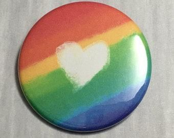 Aesthetic button, Pride Rainbow heart, 1×3/4 inch – #1×34 #Aesthetic #button #He…