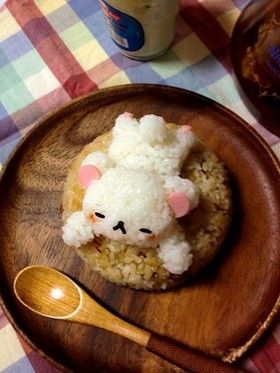 Korilakkuma Chinese-style fried rice.  Bento box.  kids lunches.  kawaii.  food and recipes