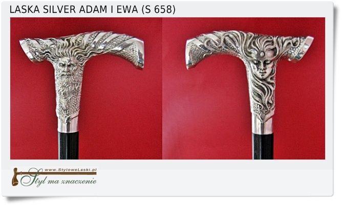 Bardzo ładna Laska ADAM i EWA z srebrnym uchwytem pr. 925 Drzewiec z Hebanu (S 658)