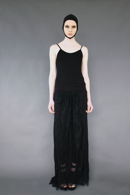 Asymmetric silk long skirt with lace www.maurizio.gr