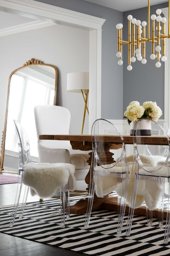 Lucite ghost chairs, love the entire look from top to bottom for dining room!