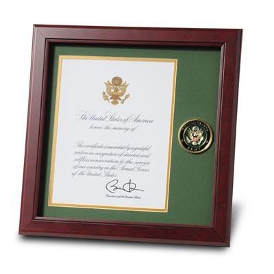 Army Presidential Certificate Frame with Army Medallion