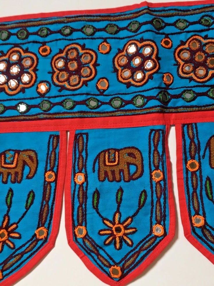Door Wall Hanging Window Valance Tapestry Blue Mirror Elephant India Toran  #Handmade #Indian
