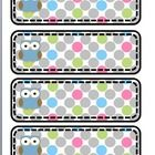 These are blank polk-a-dot owl word wall labels and could also be used as classroom supply labels.  They are mostly gray polk-a-dots with blue and ...