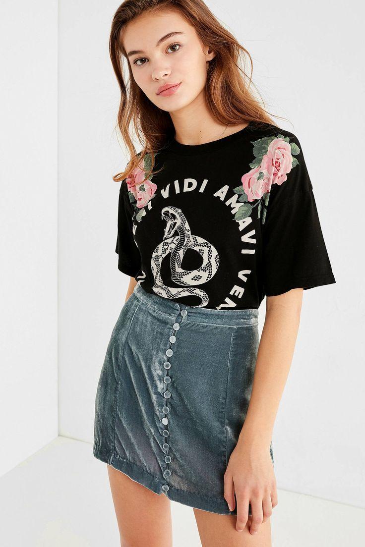UO Rose Velvet Button-Down Mini Skirt | Urban Outfitters