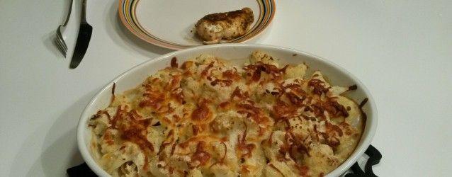 gratineret blomkål/pasta med kylling