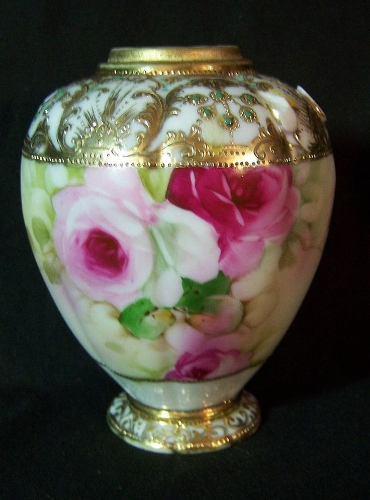 Antique Hand Painted Gold Encrusted NIPPON Urn Vase ROSES Signed
