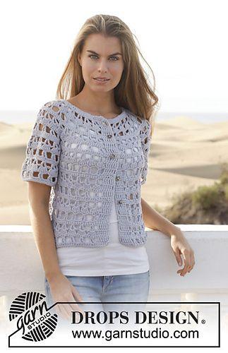 Pretty short sleeve lacy crochet cardi - Design 153-10 Nevertheless by DROPS design FREE pattern
