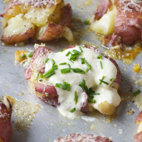 Greek Mizithra Cheese Smashed Potatoes topped with tangy Whipped Feta.