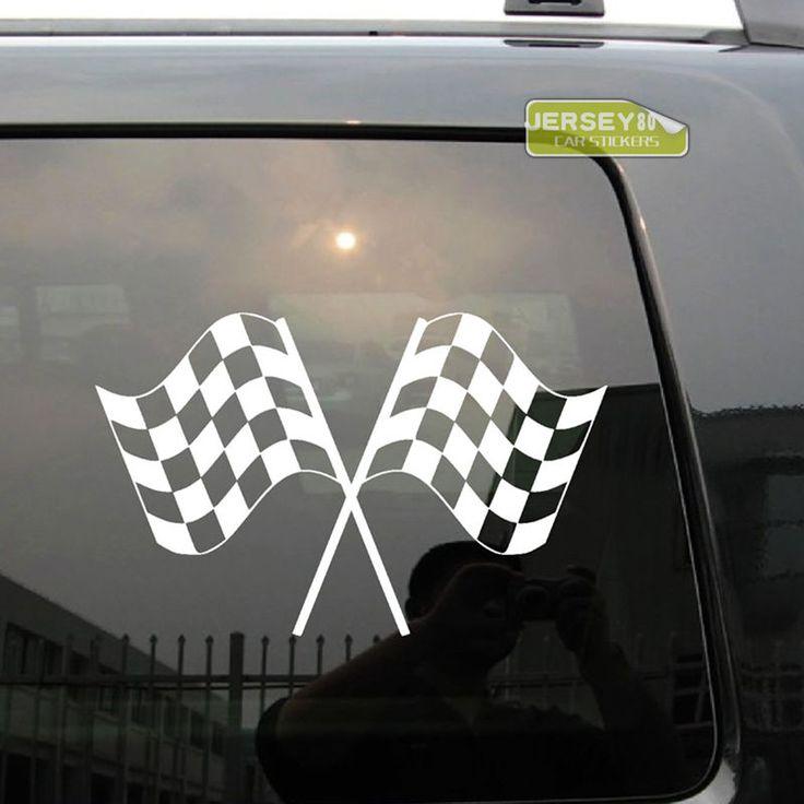 Checkered Flags Crossed Car Decal Bumper Sticker #UnbrandedGeneric