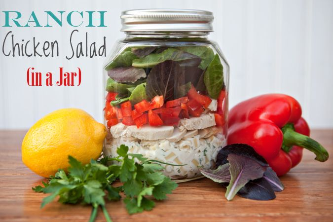 Ranch Chicken Salad in a Jar: Fun Recipes, Masons, Chicken Salads, Food, In A Jars, Ranch Chicken, Mason Jars Meals, Favorite Recipes, The Roller Coasters