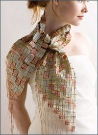 Free Scarf Sewing Pattern -- Mosaic Silk Scarf by Tricia Waddell  Play with fabric and metallic thread and explore the second of our scarf sewing patterns featuring silk fabric. Create a stunning evening scarf by combining two colors of silk Douppioni into a clever mosaic. Sew the mosaic squares to water-soluble stabilizer using metallic thread and you will have a unique accessory.