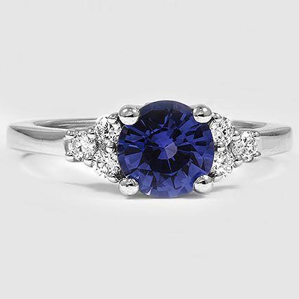 Platinum Sapphire Trio Diamond Ring // Set with a 7mm Blue Round Sapphire #BrilliantEarth