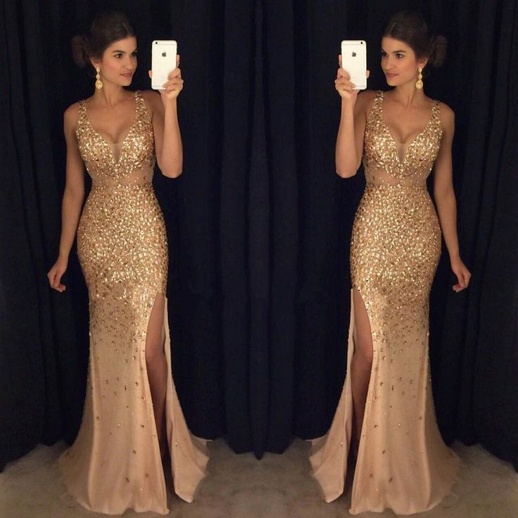 Gold Rhinestone Beaded Mermaid Evening Prom Dresses, Sexy See Through – SposaDesses