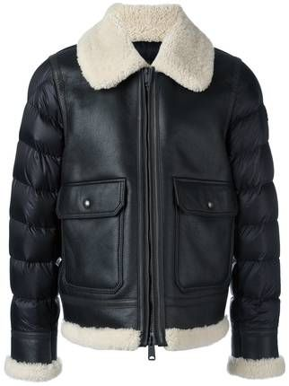 Moncler Padded Sleeve Shearling Jacket - expensive leather jackets