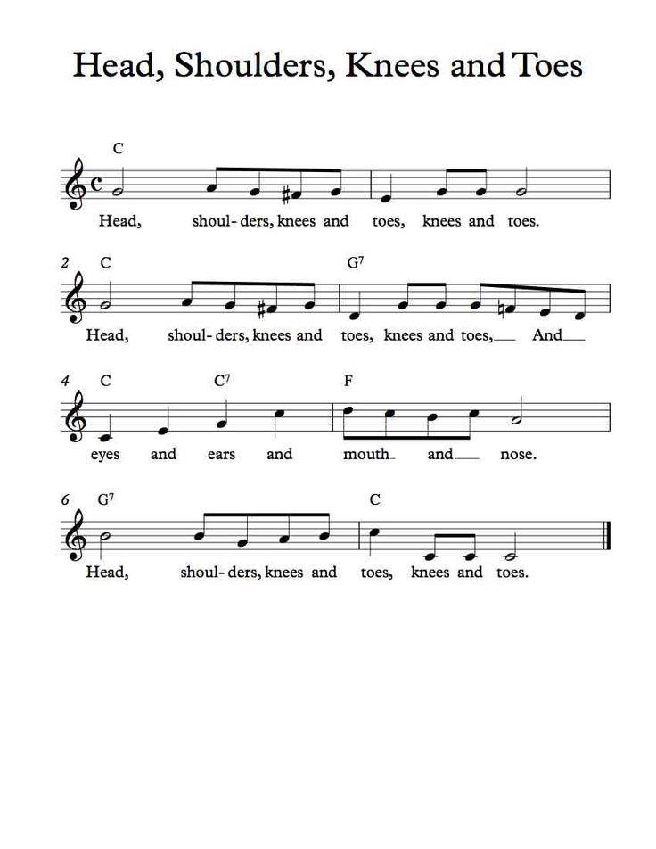 Free Sheet Music - Free Lead Sheet - Head, Shoulders, Knees, and Toes