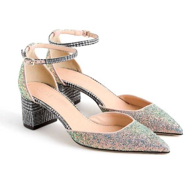 J. Crew Elwood Glitter Pump (Women) ($90) ❤ liked on Polyvore featuring shoes, pumps, mint hologram glitte, retro shoes, mint pumps, glitter pumps, block-heel pumps and sparkly pumps