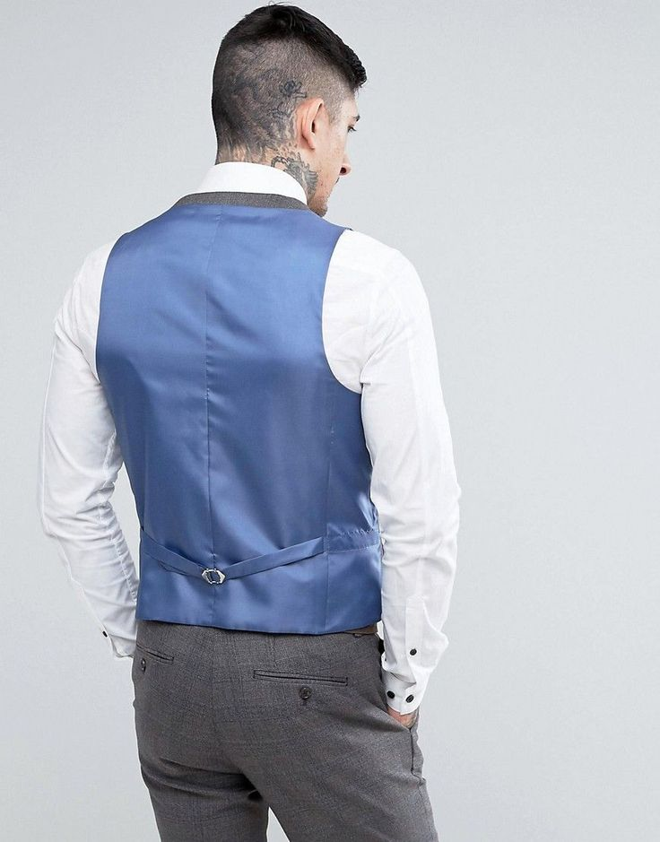 Harry Brown Slim Fit Gray Checked Suit Vest - Gray