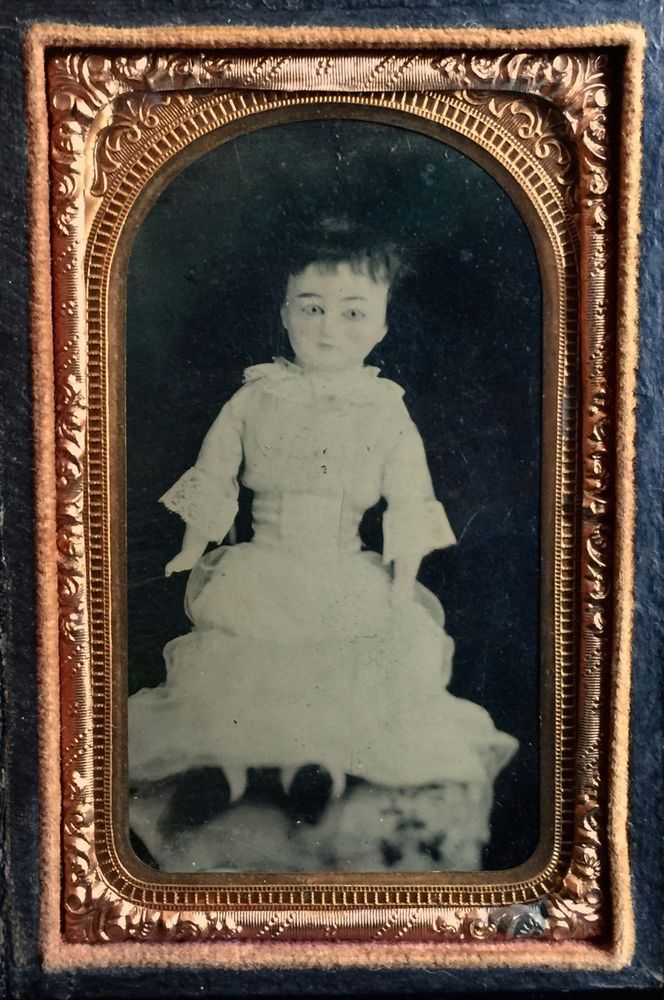 1/8 PLATE TINTYPE-EXTREMELY RARE 1850'S WAX OVER PAPIER MACHE DOLL W/ GLASS EYES