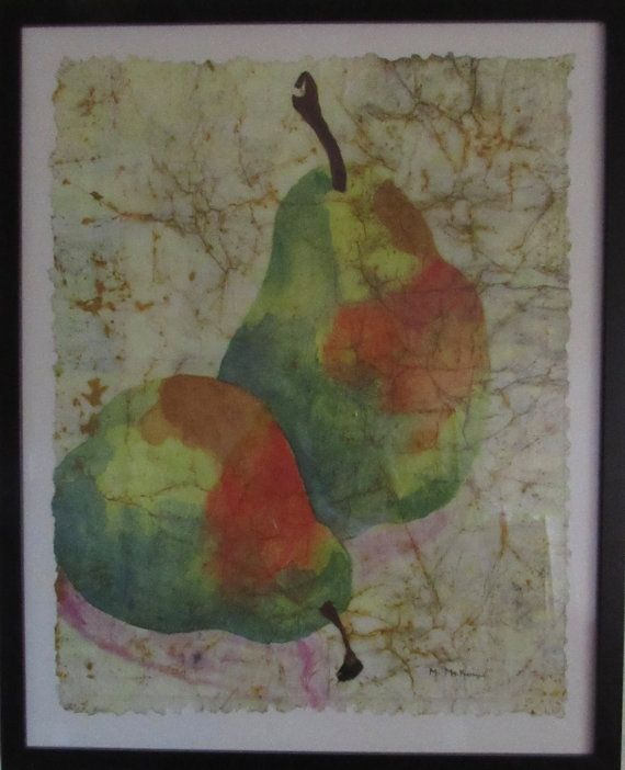 Abstract pear painting kitchen decor lime by MarciaMcKinzieArt