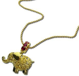 Gold Plated Elephant Charm Name Necklace with Birthstones