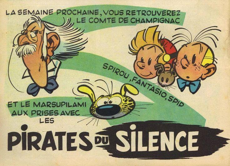 Annonce pour Les Pirates du Silence par Franquin, dans le Spirou n° 915 du 27 octobre 1955.