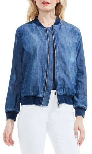 Women's Two By Vince Camuto Washed Denim Bomber Jacket